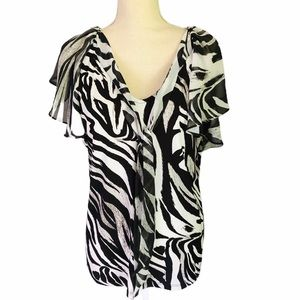 New York & Co Zebra Print Top - Size Large